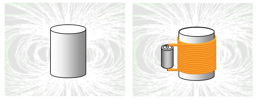 Left: A permanent magnet with field lines
