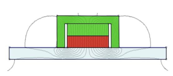 Potmagneet op een ijzeren contactoppervlak