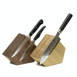 Knife block magnetic Pentagon made of wood, for knives up to 900 g