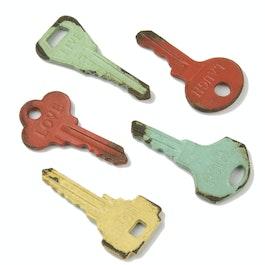 Vintage sleutels koelkastmagneten in used look, set van 5