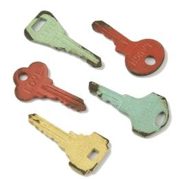 Koelkastmagneten Vintage sleutels in used look, set van 5