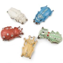 Imanes de nevera «Escarabajos vintage» con aspecto desgastado, 5 uds.