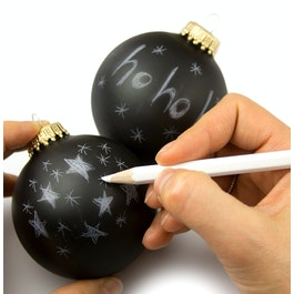 Christmas tree ball ornaments 'Black Magic' with white marker for labelling, set of 2, not magnetic!
