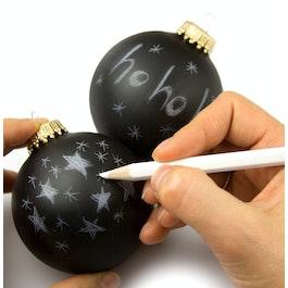 Bolas de Navidad «Black Magic» para escribir encima con lápiz de color blanco, 2 uds., ¡no es magnética!