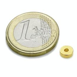 R-06-02-02-G Ringmagneet Ø 6/2 mm, hoogte 2 mm, houdt ca. 760 gr, neodymium, N45, verguld