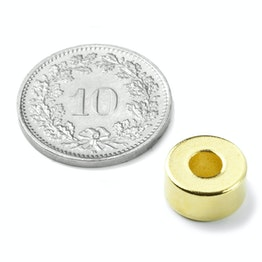 R-10-04-05-G Ringmagnet Ø 10/4 mm, Höhe 5 mm, hält ca. 2.5 kg, Neodym, N42, vergoldet