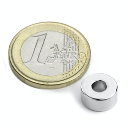 R-10-04-05-N Ring magnet Ø 10/4 mm, height 5 mm, neodymium, N42, nickel-plated