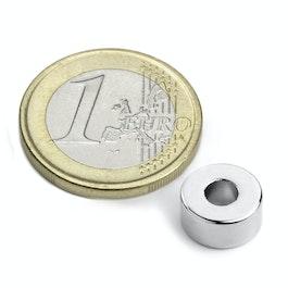 R-10-04-05-N Anello magnetico Ø 10/4 mm, altezza 5 mm, neodimio, N42, nichelato