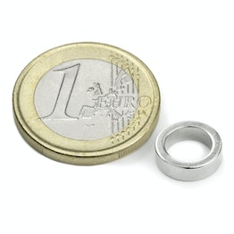 R-10-07-03-DN Ring magnet Ø 10/7 mm, height 3 mm, neodymium, N45, nickel-plated, diametrically magnetised