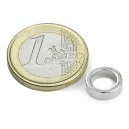 R-10-07-03-DN Ring magnet Ø 10/7 mm, height 3 mm, holds approx. 400 g, neodymium, N45, nickel-plated, diametrically magnetised