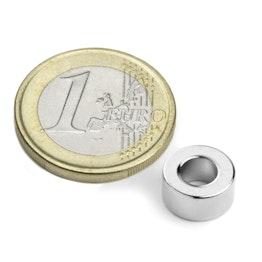 R-10-05-05-DN Ringmagneet Ø 10/5 mm, hoogte 5 mm, houdt ca. 700 gr, neodymium, N45, vernikkeld, diametral gemagnetiseerd