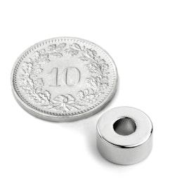 R-10-04-05-N Anneau magnétique Ø 10/4 mm, hauteur 5 mm, néodyme, N42, nickelé