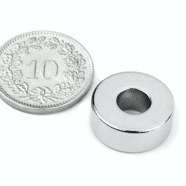 R-15-06-06-N Aro magnético Ø 15/6 mm, alto 6 mm, neodimio, N42, niquelado
