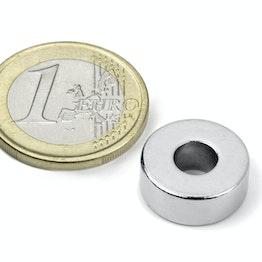 R-15-06-06-N Ring magnet Ø 15/6 mm, height 6 mm, neodymium, N42, nickel-plated