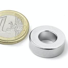 R-19-09-06-N Ring magnet Ø 19,1/9,5 mm, height 6,4 mm, neodymium, N42, nickel-plated