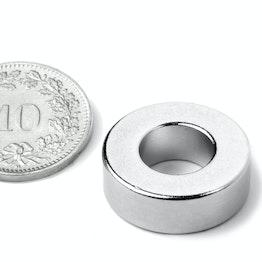 R-19-09-06-N Ring magnet Ø 19.1/9.5 mm, height 6.4 mm, neodymium, N42, nickel-plated