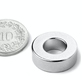 R-19-09-06-N Aro magnético Ø 19.1/9.5 mm, alto 6.4 mm, neodimio, N42, niquelado