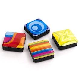 Icons psychedelisch Dekomagnete quadratisch, 4er-Set, in diversen Designs