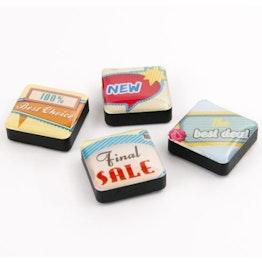 Icons verkoop decoratiemagneten vierkant, set van 4, in diverse stijlen