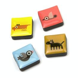 Icônes animaux aimants décoratifs carrés, lot de 4, dans différents designs