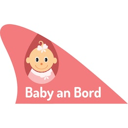 Fun fin magnetic fun item for your car, 'Baby an Bord' pink