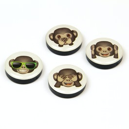 Emoji magneti decorativi con simboli, set da 4, 'scimmie'