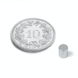 S-04-05-Z Cylindre magnétique Ø 4 mm, hauteur 5 mm, néodyme, N45, zingué