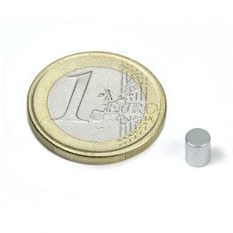 S-04-05-Z Cilindro magnetico Ø 4 mm, altezza 5 mm, neodimio, N45, zincato