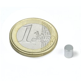 S-04-05-Z Rod magnet Ø 4 mm, height 5 mm, holds approx. 630 g, neodymium, N45, zinc-plated