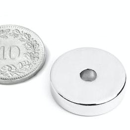 R-20-04-05-N Ringmagneet Ø 20/4.2 mm, hoogte 5 mm, neodymium, N45, vernikkeld