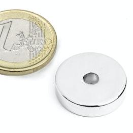 R-20-04-05-N Anneau magnétique Ø 20/4,2 mm, hauteur 5 mm, tient env. 7,2 kg, néodyme, N45, nickelé