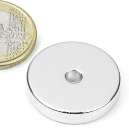 R-25-04-05-N Ring magnet Ø 25/4,2 mm, height 5 mm, neodymium, N45, nickel-plated