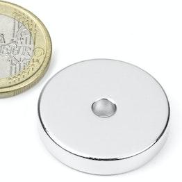 R-25-04-05-N Ring magnet Ø 25/4,2 mm, height 5 mm, holds approx. 9,4 kg, neodymium, N45, nickel-plated