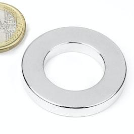 R-40-23-06-N Ringmagneet Ø 40/23 mm, hoogte 6 mm, neodymium, N42, vernikkeld