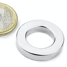 R-27-16-05-N Ring magnet Ø 26,75/16 mm, height 5 mm, holds approx. 11 kg, neodymium, N42, nickel-plated