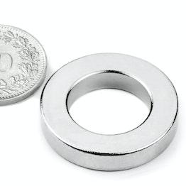 R-27-16-05-N Ring magnet Ø 26.75/16 mm, height 5 mm, holds approx. 11 kg, neodymium, N42, nickel-plated