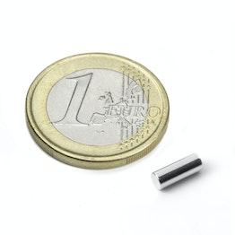 S-03-08-N Cilindro magnetico Ø 3 mm, altezza 8 mm, tiene ca. 410 g, neodimio, N48, nichelato
