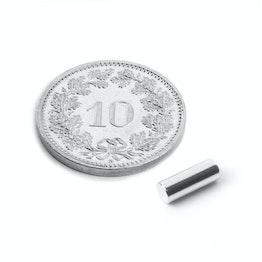 S-03-08-N Staafmagneet Ø 3 mm, hoogte 8 mm, houdt ca. 410 gr, neodymium, N48, vernikkeld
