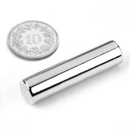 S-10-40-N Cilindro magnetico Ø 10 mm, altezza 40 mm, neodimio, N40, nichelato