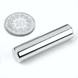 S-10-40-N Rod magnet Ø 10 mm, height 40 mm, neodymium, N40, nickel-plated