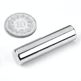 S-10-40-N Rod magnet Ø 10 mm, height 40 mm, holds approx. 4.1 kg, neodymium, N40, nickel-plated
