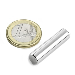 S-08-30-N Rod magnet Ø 8 mm, height 30 mm, neodymium, N42, nickel-plated