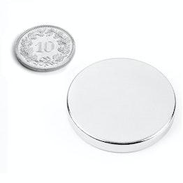 S-35-05-N Disc magnet Ø 35 mm, height 5 mm, neodymium, N42, nickel-plated