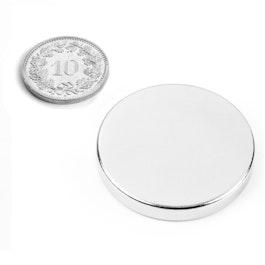 S-35-05-N Disque magnétique Ø 35 mm, hauteur 5 mm, néodyme, N42, nickelé