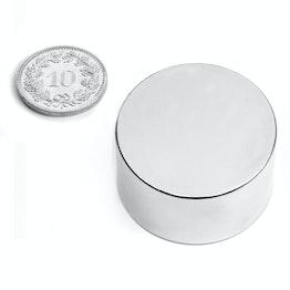 S-35-20-N Disc magnet Ø 35 mm, height 20 mm, neodymium, N45, nickel-plated