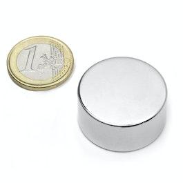 S-30-15-N Disco magnético Ø 30 mm, alto 15 mm, neodimio, N42, niquelado