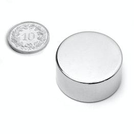 S-30-15-N Disc magnet Ø 30 mm, height 15 mm, neodymium, N42, nickel-plated