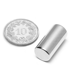S-10-20-N Rod magnet Ø 10 mm, height 20 mm, neodymium, N45, nickel-plated