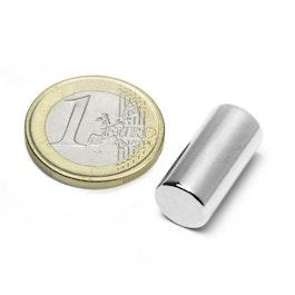 S-10-20-N Cylindre magnétique Ø 10 mm, hauteur 20 mm, néodyme, N45, nickelé