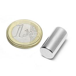 S-10-20-N Rod magnet Ø 10 mm, height 20 mm, holds approx. 4,4 kg, neodymium, N45, nickel-plated